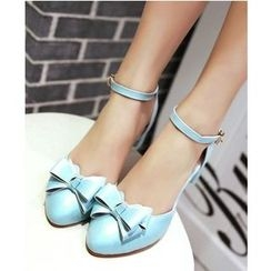 Freesia - Bow Ankle Strap Pumps