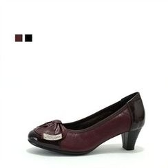 MODELSIS - Genuine Leather Ribbon-Detail Pumps