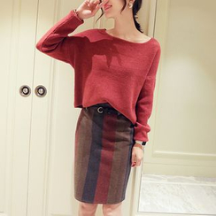 Romantica - Set: Cropped Knit Top + Striped Pencil-Cut Skirt