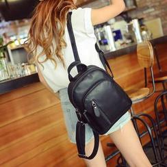 Seok - Faux Leather Backpack
