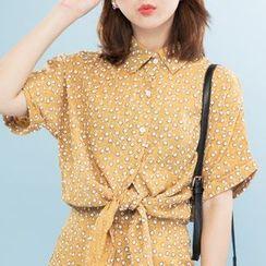 Heynew - 套裝: 碎花前結帶襯衫 + A字裙子