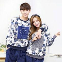 SHIRLEY - Couple Matching Pajama Set: Leaf Print Pullover + Pants