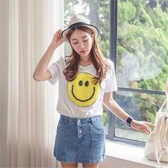 ERANZI - Round-Neck Sequined T-Shirt