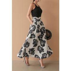 PPGIRL - Band-Waist Floral Print Midi Skirt