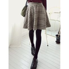LOLOten - Wool Blend Plaid Mini Flare Skirt