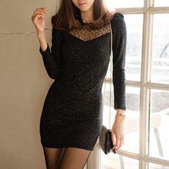 Rocho - Long-Sleeve Glitter Sheath Dress