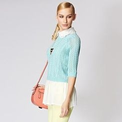 O.SA - Set: Elbow-Sleeve Knit Top + Sleeveless Top
