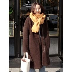 maybe-baby - Boucle-Knit Faux-Shearling Coat