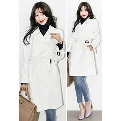 INSTYLEFIT - Snap-Button Trench Coat with Belt