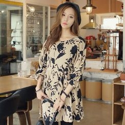 REDOPIN - 3/4-Sleeve Tie-Waist Floral Dress