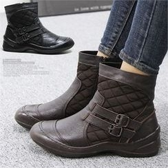 Reneve - Buckled Quilted Genuine-Leather Short Boots