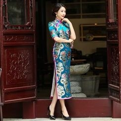 Miss Four Qipao - Short-Sleeve Patterned Cheongsam
