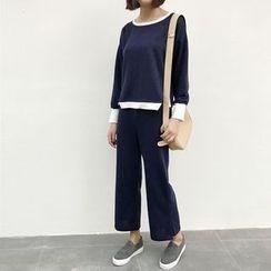 RASA - Set : Piped Long-Sleeve Top + Wide-leg Pants