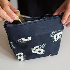 Evorest Bags - Floral Print Panel Zip Pouch