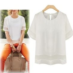 LIVA GIRL - Short-Sleeve Sheer Panel Top