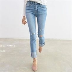 PEPER - Distressed Straight-Cut Jeans
