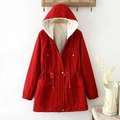 Softies - Fleece-Lined Drawstring Hooded Zip Coat