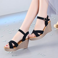 Hannah - Cross Strap Wedge Sandals