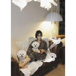 ssongbyssong - Pajama Set: Pattern Top + Band-Waist Pants