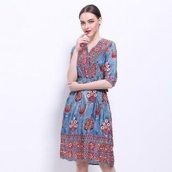 Ameous - Patterned Silk Dress