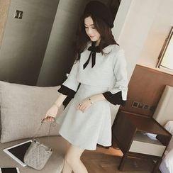 Ashlee - Mock Two-piece Bow Bell-Sleeve Dress