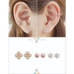 soo n soo - Set of 3: Stud Earrings