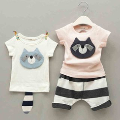 POMME - Kids Set: Raccoon Short-Sleeve T-Shirt + Pants