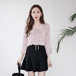 Envy Look - Lace-Up Ruffled Blouse