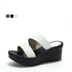 MODELSIS - Genuine Leather Woven-Strap Mules