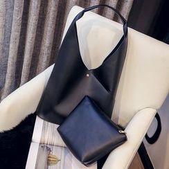 Diamante - 套裝: 仿皮購物袋 + 拉鍊小袋