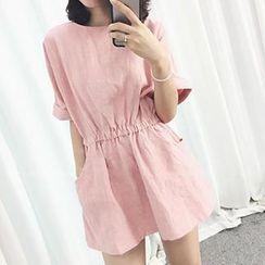 Eva Fashion - Short-Sleeve Gathered-Waist Dress