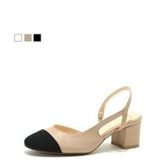 MODELSIS - Genuine Leather Slingback Chunky-Heel Pumps