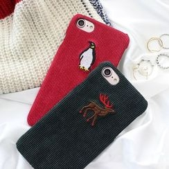 Homap - Animal Embroidered Corduroy Mobile Phone Case - Apple iPhone 6 / 6 Plus / 7 / 7 Plus