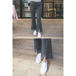 migunstyle - Slit-Front Boot-Cut Pants
