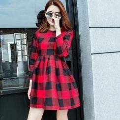 Angel Shine - Plaid Long Sleeve Mini Woolen Dress
