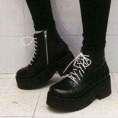 SouthBay Shoes - Lace-Up Platform Short Boots