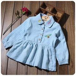 Rakkaus - Kids Long-Sleeve Fleece-Lined Check Dress