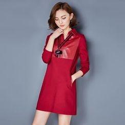 AiSun - Split-neck Panel Long-Sleeve Dress