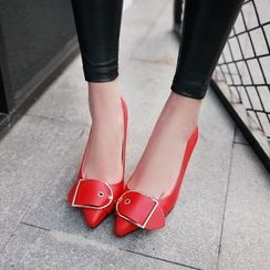 JY Shoes - Buckle Pointy Toe Kitten Heels