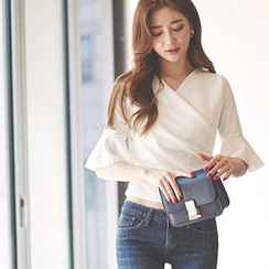chuu - Ruffle-Sleeve Wrap-Front Top