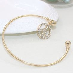 Cheermo - Rhinestone Peace Open Bangle