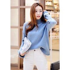 DEEPNY - Mock-Neck Contrast-Trim Sweater