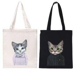 TangTangBags - Cat Print Canvas Shopper Bag
