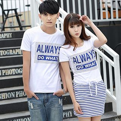 Igsoo - Couple Matching Print Short-Sleeve T-Shirt / Short-Sleeve Dress