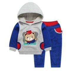 Ansel's - 童装套装: 贴布绣连帽衫 + 裤