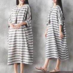 One2One - Elbow-Sleeve Striped A-Line Midi Dress