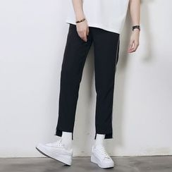 Mr. Cai - Contrast Trim Tapered Pants