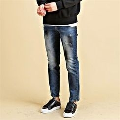 THE COVER - Distressed Washed Straight-Cut Jeans