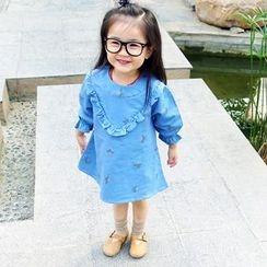 CUBS - Kids Ruffle Trim Printed Long-Sleeve Dress