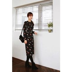 CHERRYKOKO - Floral Pattern Brushed-Fleece Lined Dress